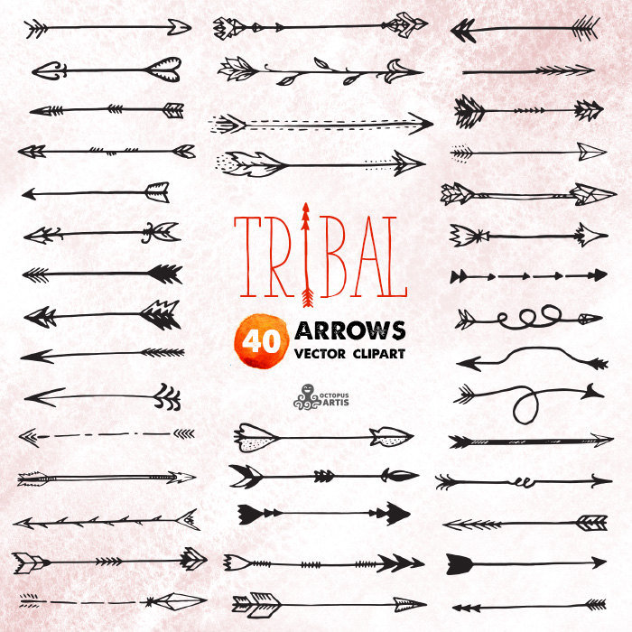 Tribal vector digital files. Arrows clipart calligraphy