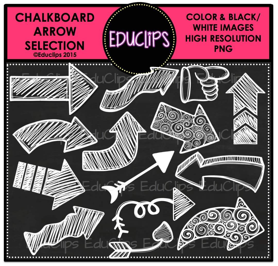 Clip art bundle white. Arrows clipart chalkboard