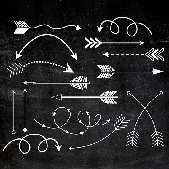Arrows clipart chalkboard. Tribal printable white chalk