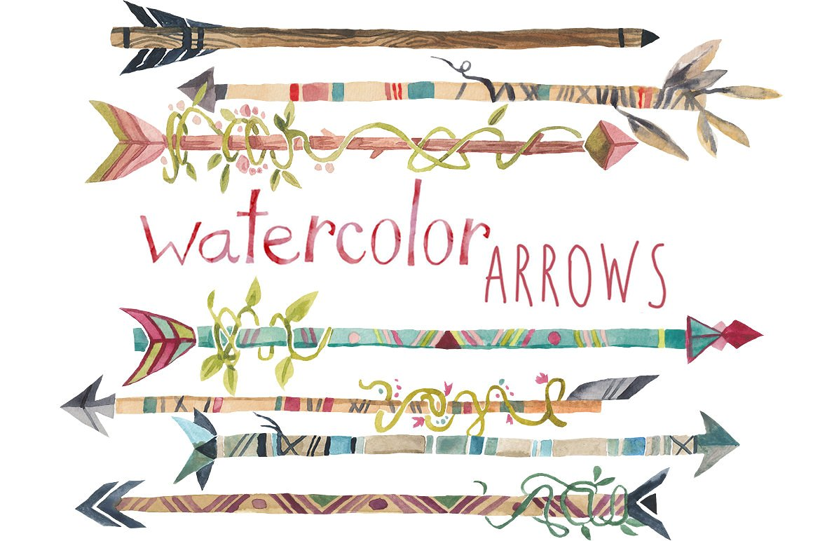 Arrows clipart creative. Watercolor clip art illustrations