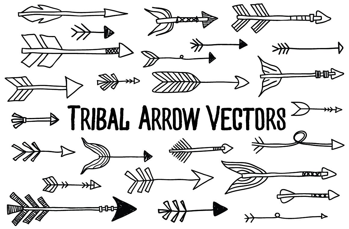Arrows clipart creative. Tribal arrow vectors illustrations