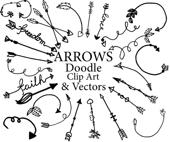 Arrows clipart doodle. Tribal