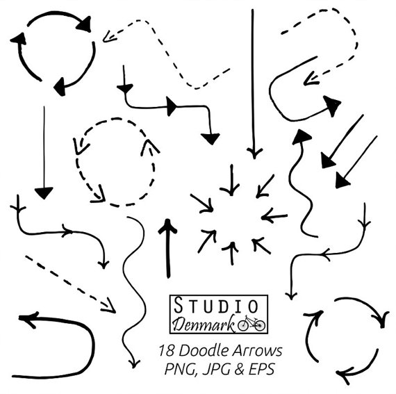 Set basic included . Arrows clipart doodle