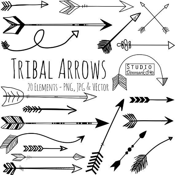 Arrows clipart doodle. Tribal arrow and vectors