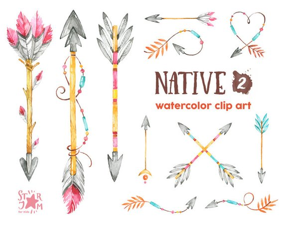 Native watercolor indian feathers. Arrows clipart feather