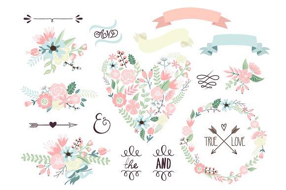 Arrows clipart flower. Wedding floral wreath heart