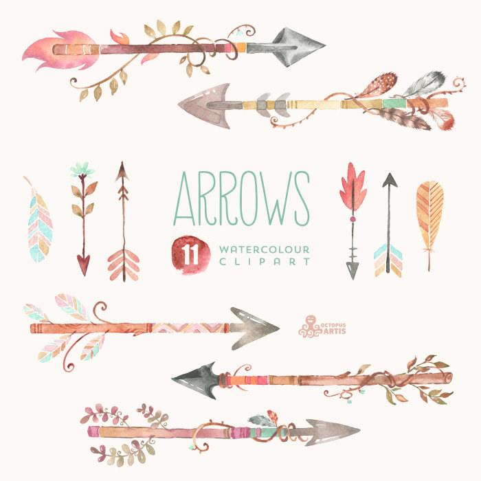 Watercolour hand painted elements. Arrows clipart flower