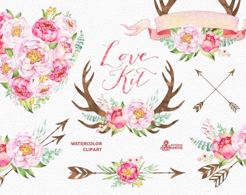 Arrows clipart flower. Love kit watercolor flowers