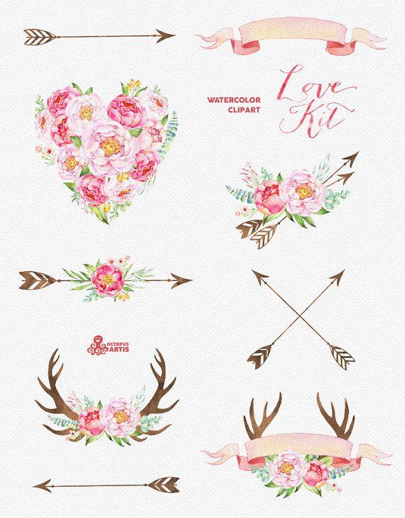 Love kit watercolor flowers. Arrows clipart flower