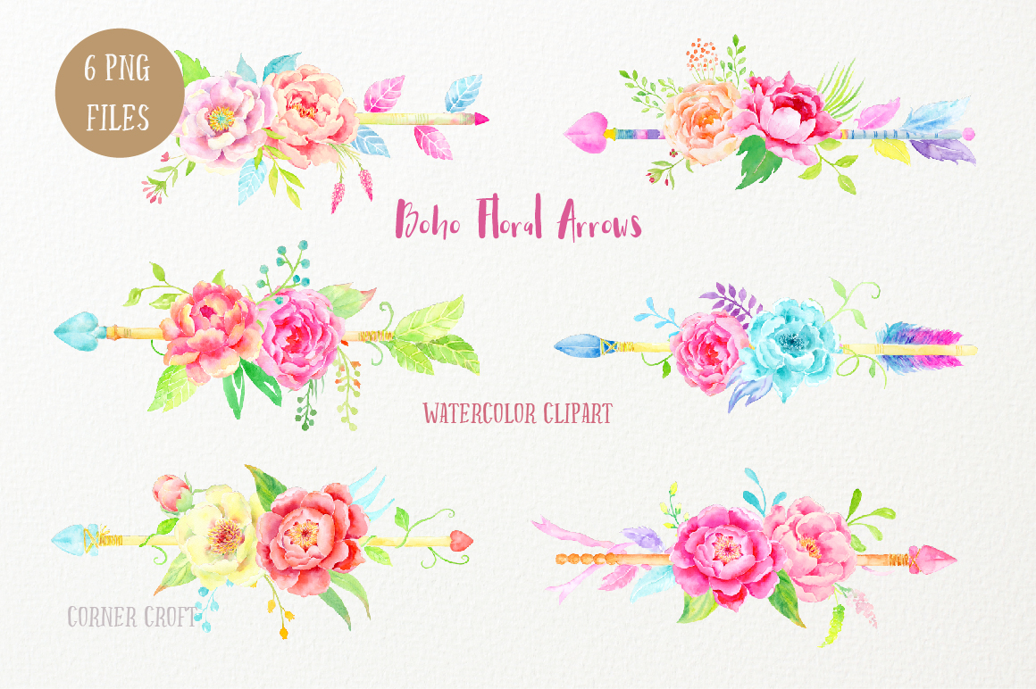 Arrows clipart flower. Watercolor boho floral by