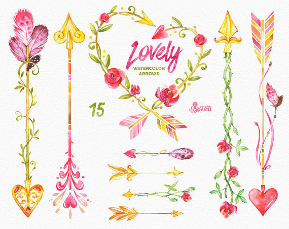 Lovely watercolor hand painted. Arrows clipart flower