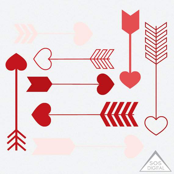 Arrows clipart heart. Red arrow valentine