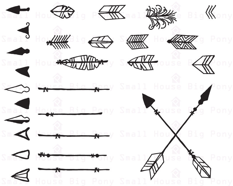 Arrows clipart native american. Digital hand drawn this