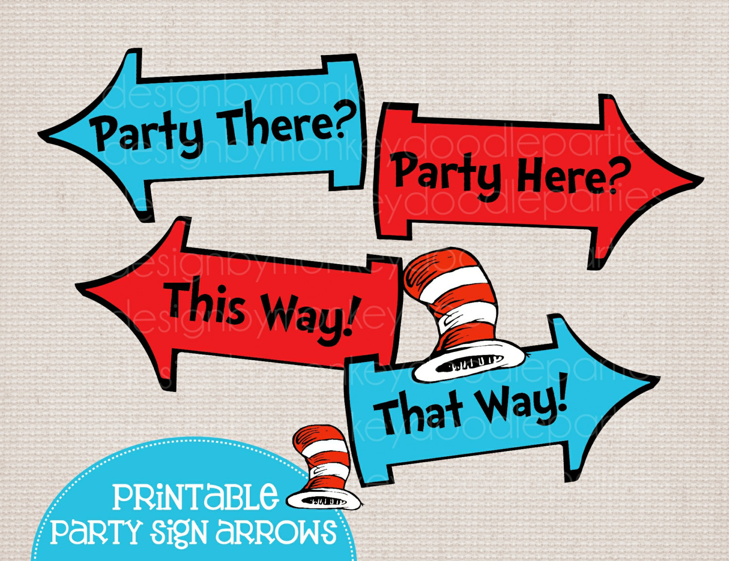 Whimsical blue and red. Arrows clipart printable
