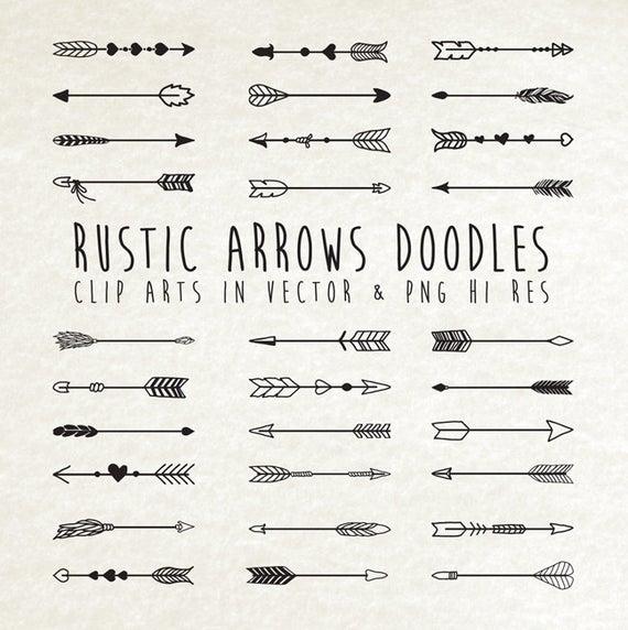 Hand drawn arrow doodle. Arrows clipart rustic