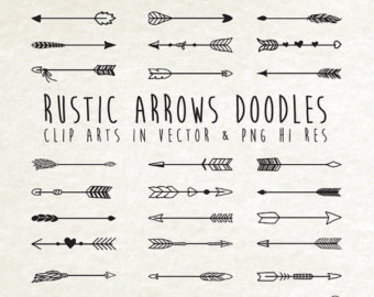 Arrow etsy hand drawn. Arrows clipart rustic