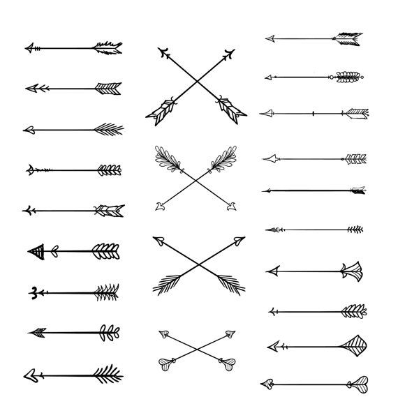 Arrows clipart simple. Doodle tribal vector hand