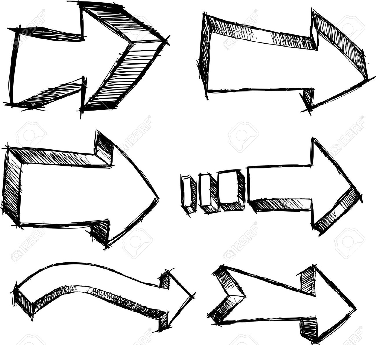 Arrows clipart sketch.  collection of doodle
