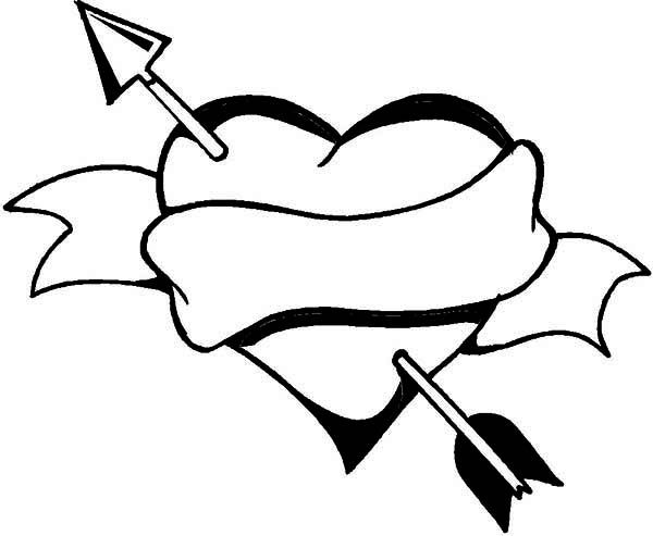 Heart and arrow drawing. Arrows clipart sketch