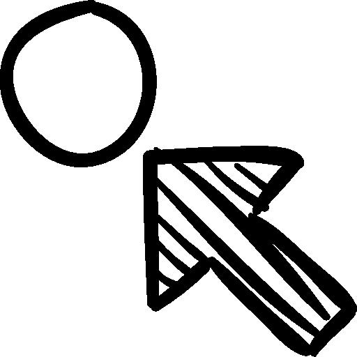 Arrow pointing a circle. Arrows clipart sketch