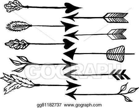 Vector stock rustic illustration. Arrows clipart sketch