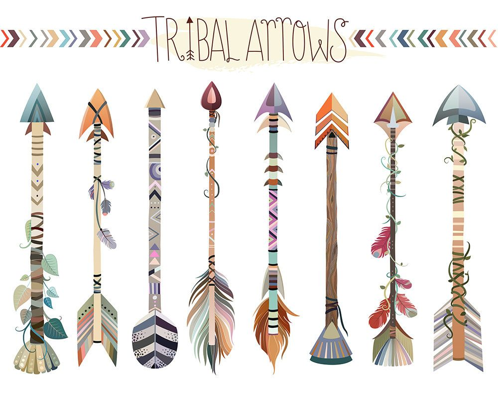 Arrows clipart trendy. Tribal set of vector