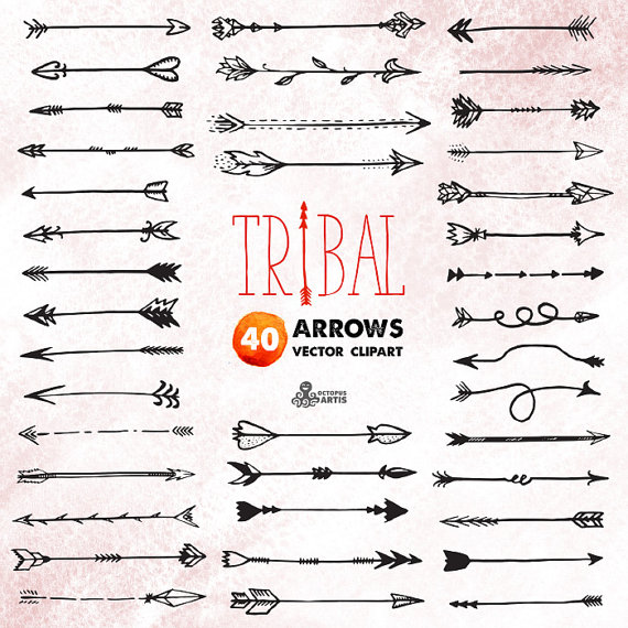 Arrows clipart tribal. Vector digital files hand