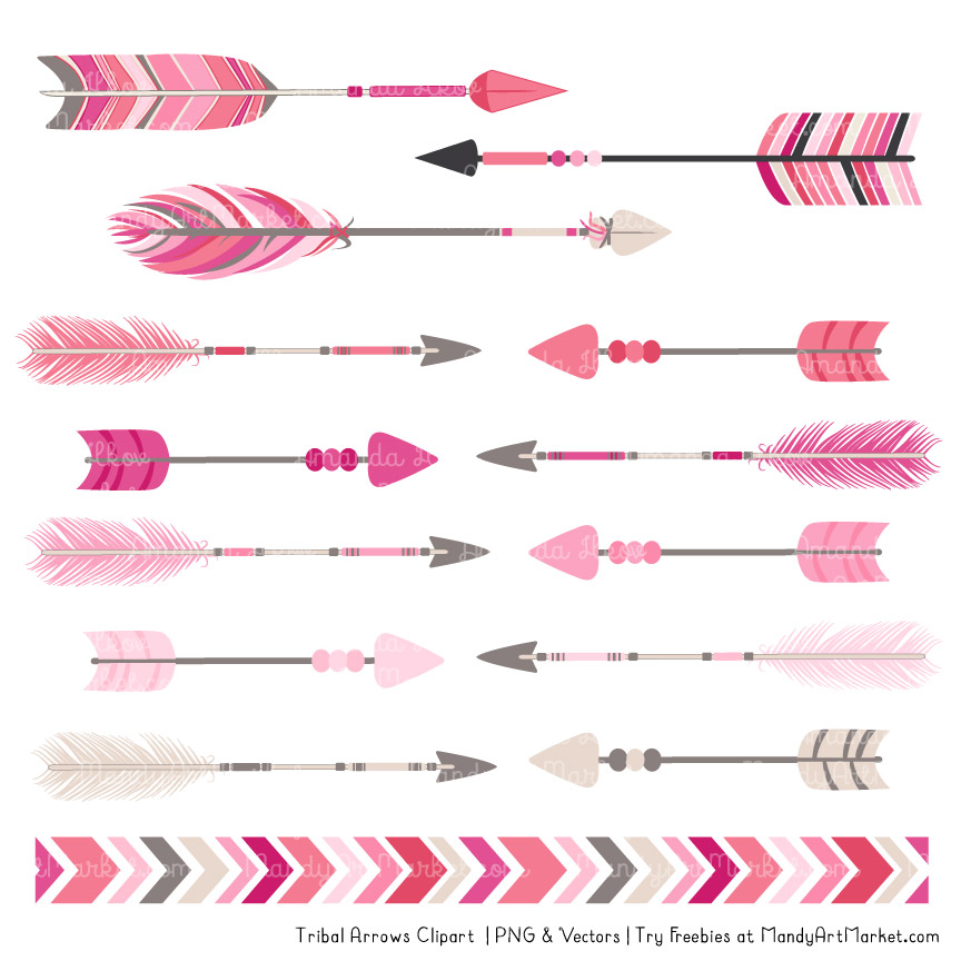Pink . Arrows clipart tribal