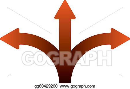 Art three splitting drawing. Arrows clipart vector