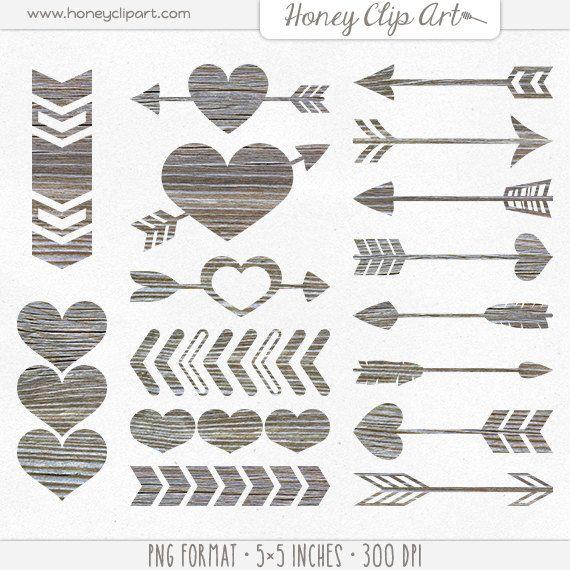 Digital heart wooden arrow. Arrows clipart wood