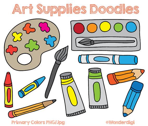 Art clipart. Supplies clip doodles kids