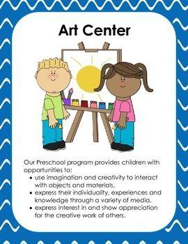 Art clipart art center. Preschool signs and more