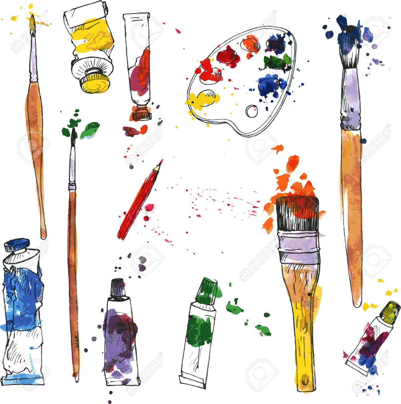 Supplies drawing at getdrawings. Art clipart art material