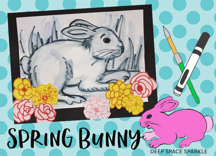 Art clipart art project. Spring bunny deep space