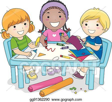 Art clipart art project. Eps illustration kids group