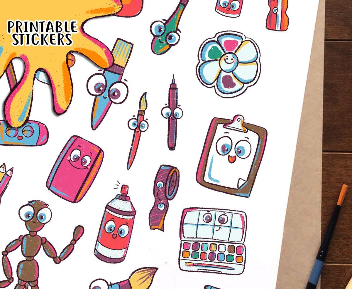 Materials clip art printable. Artist clipart artsy