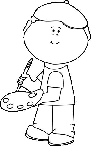 Boy clip art image. Artist clipart black and white