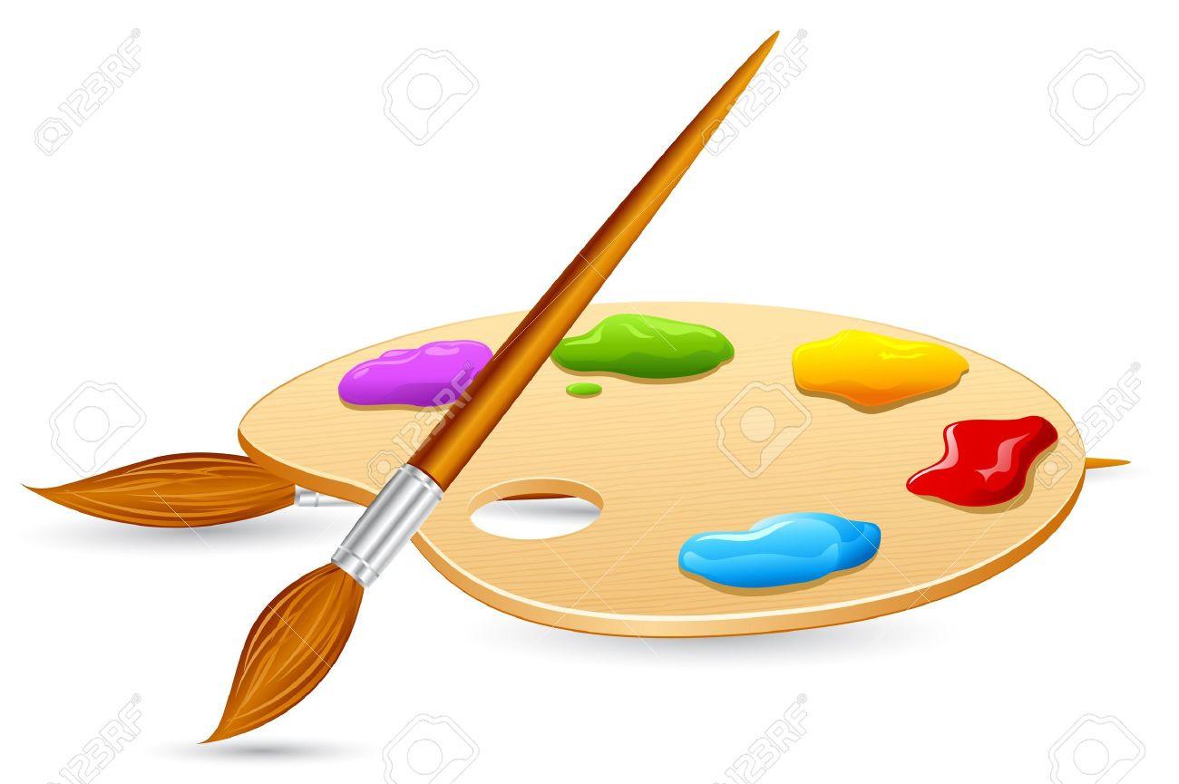 Pallet paintbrush stock illustration. Art clipart color palette