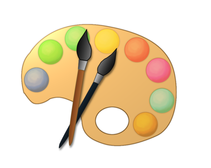 Color clipart painting. Artist paint palette