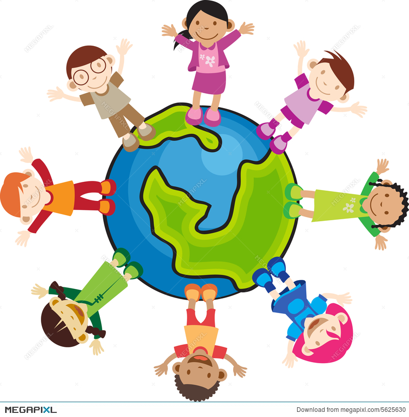 Multi culture children illustration. Art clipart cultural art