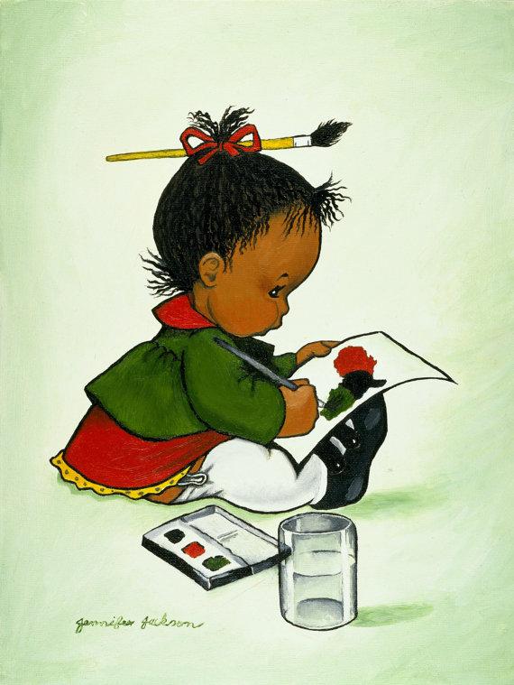 African american print symbol. Art clipart cultural art