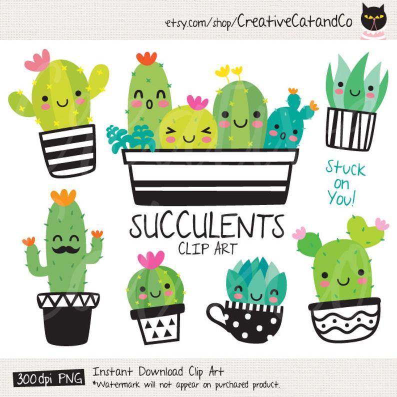 Succulent cactus cacti clip. Art clipart cute