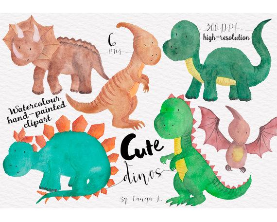 Art clipart cute. Dinosaur watercolour clip commercial
