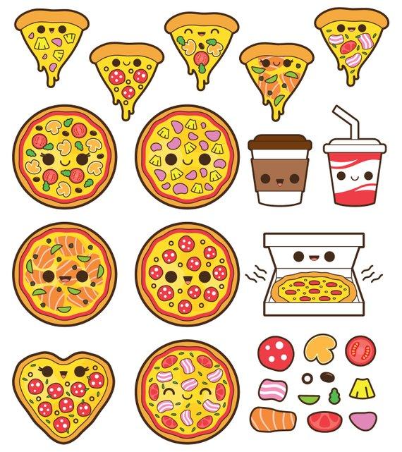 Art clipart cute. Kawaii pizza