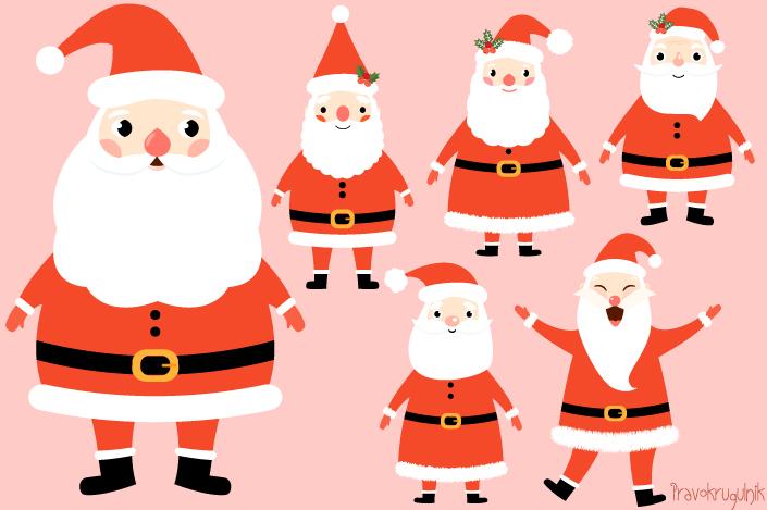 Kawaii santa claus set. Art clipart cute