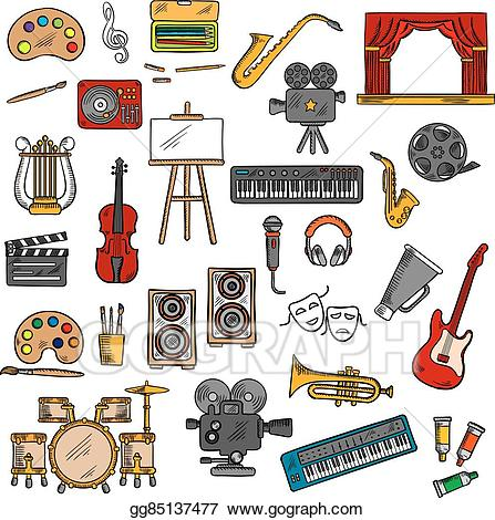 Music clipart fine art. Vector stock cinema and