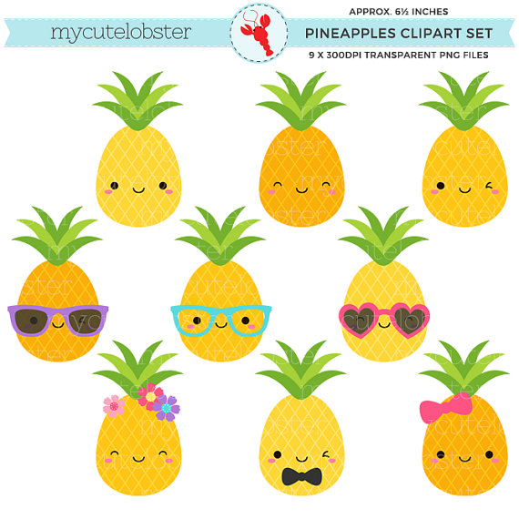 Pineapple clipart baby. Cute pineapples set clip