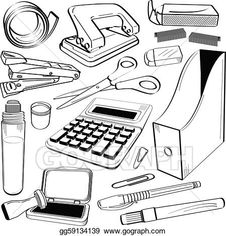 Eps vector office stationery. Calculator clipart doodle