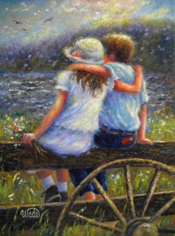Art clipart oil painting. Summer love original country