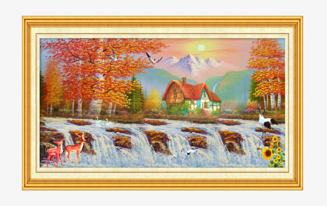 Landscape framed paintings western. Art clipart oil painting